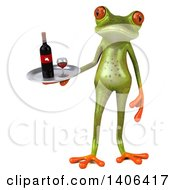 Clipart Of A 3d Green Springer Frog On A White Background Royalty Free Illustration by Julos