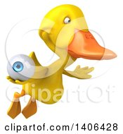 Clipart Of A 3d Yellow Duck On A White Background Royalty Free Illustration by Julos
