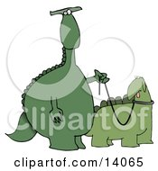 Green Dino Standing Upright And Walking His Pet Dino On A Leash Clipart Illustration