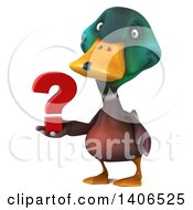 Clipart Of A 3d Mallard Drake Duck On A White Background Royalty Free Illustration by Julos