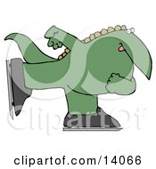Green Dino Ice Skating Clipart Illustration