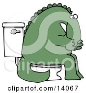 Green Dino Covering His Mouth Or Nose While Sitting On A Toilet