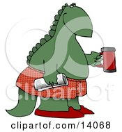 Green Dino In Boxers And Slippers Holding A Coffee Mug And Newspaper