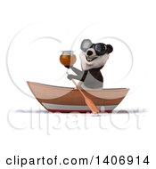 Clipart Of A 3d Panda Rowing A Boat On A White Background Royalty Free Illustration