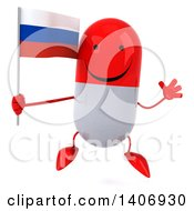 Clipart Of A 3d Red Pill Character Holding A Flag On A White Background Royalty Free Illustration
