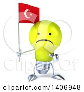 Clipart Of A 3d Yellow Light Bulb Character On A White Background Royalty Free Illustration