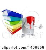 3d Can Of Red Paint Character Holding A Stack Of Books On A White Background
