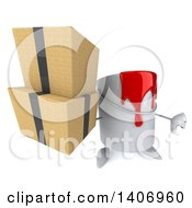 Poster, Art Print Of 3d Paint Can Character Holding Boxes On A White Background