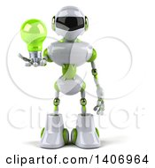 Clipart Of A 3d White And Green Robot Holding A Light Bulb On A White Background Royalty Free Illustration