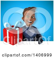 Clipart Of A 3d Young Female Indian Super Hero In A Dark Blue Suit Royalty Free Illustration