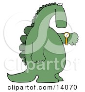 Green Dino Looking At His Wrist Watch To Check The Time Clipart Illustration