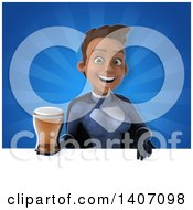 Clipart Of A 3d Young Female Black Super Hero In A Dark Blue Suit Royalty Free Illustration