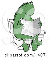 Green Dino Sitting On A Toilet And Reading A Newspaper In A Bathroom