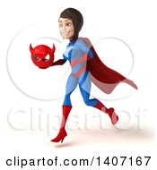 Clipart Of A 3d Young Brunette White Female Super Hero In A Blue And Red Suit On A White Background Royalty Free Illustration