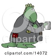 Homeless Green Dinosaur Wearing A Patched Jacket And Holding A Cup Out For Spare Change Clipart Illustration