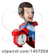 Clipart Of A 3d Young Brunette White Female Super Hero In A Blue And Red Suit On A White Background Royalty Free Illustration by Julos