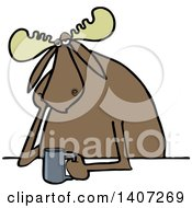 Clipart Of A Cartoon Depressed Or Tired Moose Sitting With A Cup Of Coffee Royalty Free Vector Illustration