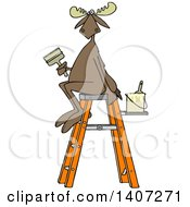 Poster, Art Print Of Cartoon Painter Moose Sitting On A Ladder And Holding A Brush