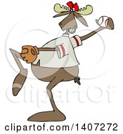 Clipart Of A Cartoon Athletic Baseball Player Moose Pitching Royalty Free Vector Illustration