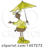 Clipart Of A Cartoon Moose In Rain Gear Holding An Umbrella Royalty Free Vector Illustration