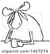 Clipart Of A Cartoon Black And White Lineart Depressed Or Tired Moose Sitting With A Cup Of Coffee Royalty Free Vector Illustration