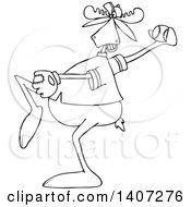 Clipart Of A Cartoon Black And White Lineart Athletic Baseball Player Moose Pitching Royalty Free Vector Illustration