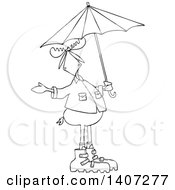 Clipart Of A Cartoon Black And White Lineart Moose In Rain Gear Holding An Umbrella Royalty Free Vector Illustration