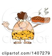 Clipart Of A Brunette Cave Woman Gesturing Ok And Holding A Grilled Steak Royalty Free Vector Illustration