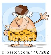 Clipart Of A Brunette Cave Woman Waving Over Blue Royalty Free Vector Illustration