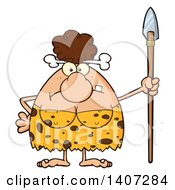 Clipart Of A Mad Brunette Cave Woman Holding A Spear Royalty Free Vector Illustration