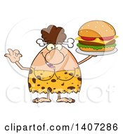 Clipart Of A Brunette Cave Woman Gesturing Ok And Serving A Cheeseburger Royalty Free Vector Illustration
