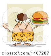 Clipart Of A Brunette Cave Woman Gesturing Ok And Serving A Cheeseburger On Green Royalty Free Vector Illustration