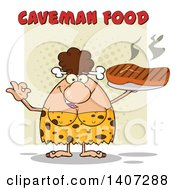 Clipart Of A Brunette Cave Woman Gesturing Ok And Holding A Grilled Steak On Green Royalty Free Vector Illustration