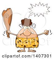 Clipart Of A Mad Brunette Cave Woman Waving A Fist And Club Royalty Free Vector Illustration by Hit Toon
