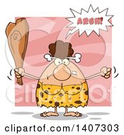 Clipart Of A Mad Brunette Cave Woman Waving A Fist And Club On Pink Royalty Free Vector Illustration by Hit Toon