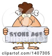 Clipart Of A Brunette Cave Woman Holding A Stone Age Sign Royalty Free Vector Illustration