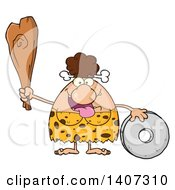 Clipart Of A Brunette Cave Woman With A Stone Wheel And Club Royalty Free Vector Illustration