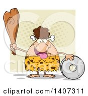 Clipart Of A Brunette Cave Woman With A Stone Wheel And Club On Tan Royalty Free Vector Illustration by Hit Toon