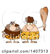 Clipart Of A Caveman And Brunette Woman Couple Royalty Free Vector Illustration