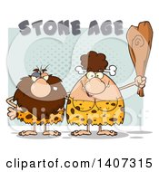Clipart Of A Caveman And Brunette Woman Couple Royalty Free Vector Illustration by Hit Toon