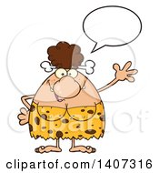 Clipart Of A Brunette Cave Woman Talking And Waving Royalty Free Vector Illustration by Hit Toon