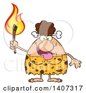 Brunette Cave Woman Holding A Torch