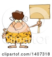 Clipart Of A Brunette Cave Woman Holding A Blank Sign Royalty Free Vector Illustration by Hit Toon