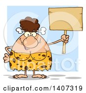 Clipart Of A Brunette Cave Woman Holding A Blank Sign On Blue Royalty Free Vector Illustration by Hit Toon