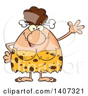 Clipart Of A Brunette Cave Woman Waving Royalty Free Vector Illustration by Hit Toon