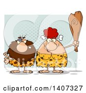 Clipart Of A Caveman And Red Haired Woman Couple Royalty Free Vector Illustration