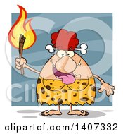 Clipart Of A Red Haired Cave Woman Holding A Torch On Blue Royalty Free Vector Illustration