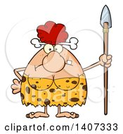 Clipart Of A Mad Red Haired Cave Woman Holding A Spear Royalty Free Vector Illustration