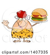 Clipart Of A Red Haired Cave Woman Gesturing Ok And Serving A Cheeseburger Royalty Free Vector Illustration