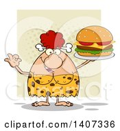 Clipart Of A Red Haired Cave Woman Gesturing Ok And Serving A Cheeseburger On Green Royalty Free Vector Illustration